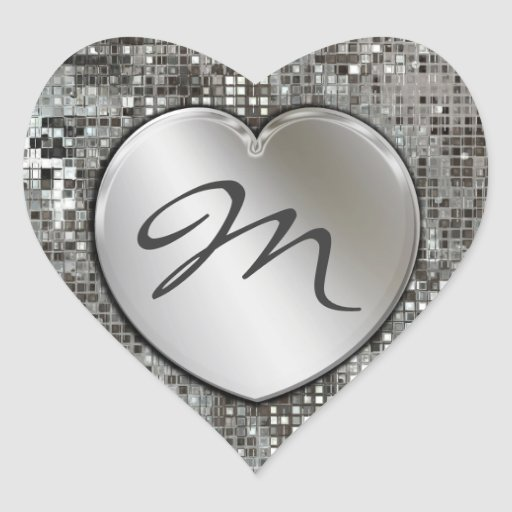 Initial Monogram Heart On Sequins Sticker