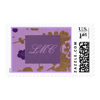initial monogram purples and flowers gold postage