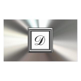 Initial Monogram Silver Metal Business Cards