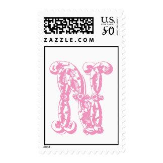 Initial Monogram Stamp Pink Letter N