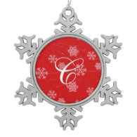 Initial Monogram White Snowflakes on Red Ornaments
