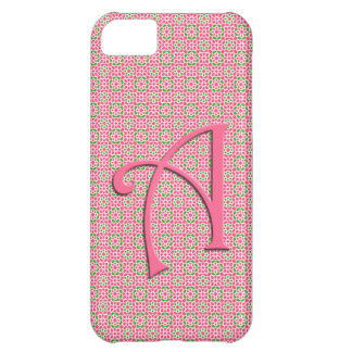 Initial Monograma and flowers of pink mosaic Lette Cover For iPhone 5C