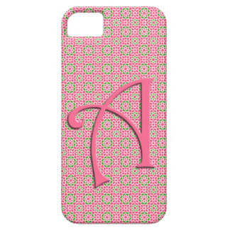 Initial Monograma and flowers of pink mosaic Lette iPhone 5 Covers