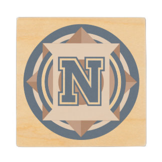Initial N Monogram Wooden Coaster