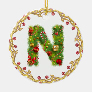 initial n monogrammed christmas ornament - circle
