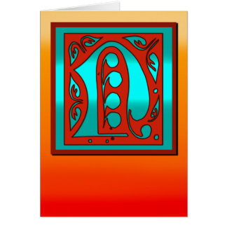Initial N Southwestern Sunset Colors Card