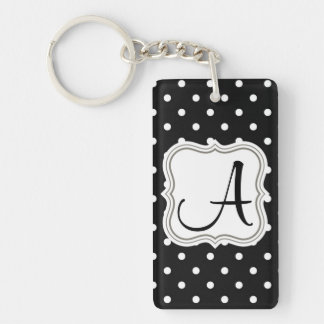 Initial name monogram polka dot black and white keychain