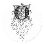 Initial O Antique Engraving Classic Round Sticker