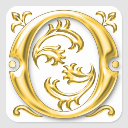 Initial o capital letter monogram sticker in gold zazzle for Letter o monogram