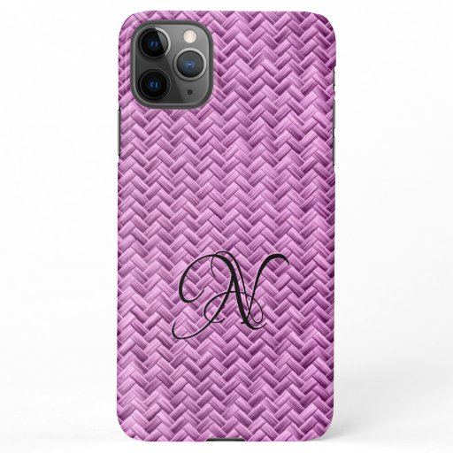 Initial:  Orchid Basketweave Geometric Pattern iPhone 11Pro Max Case