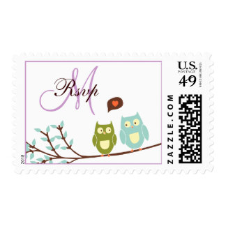 Initial Owls Wedding Invitation RSVP Postage Stamp