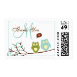 Initial Owls Wedding Thank You Postage Stamp