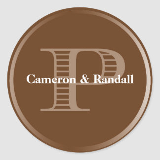 Initial P brown monogram name tag party favor Classic Round Sticker
