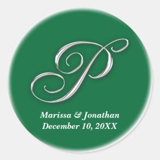 Initial P green monogram custom name favor seal Sticker