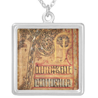 Initial page from the Lichfield Gospels, c.720 Silver Plated Necklace