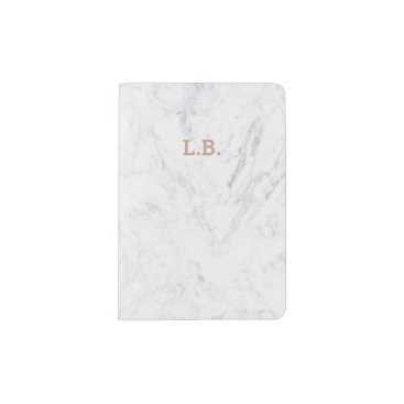 girly_trend Initial passport rose gold typography white marble passport holder