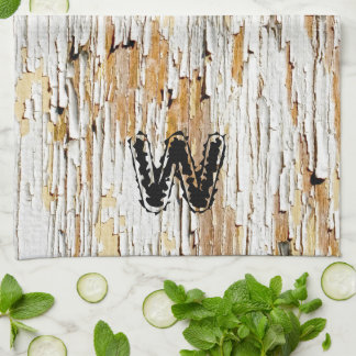 Initial: Peeling Paint  on Aged Wood  Photography Kitchen Towel