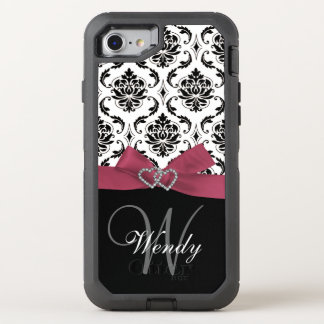Initial, Pink, Black Damask Pattern OtterBox Defender iPhone 7 Case