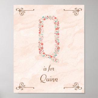 Initial Q Baby Name Monogram Art Print