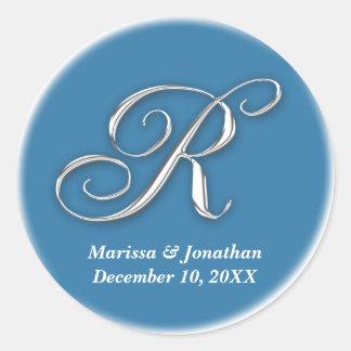 Initial R blue monogram custom name favor seal Sticker