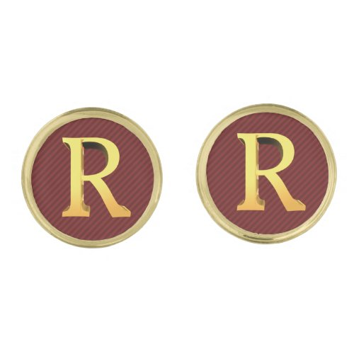 Initial R _ Gold Monogram on Striped Dark Red Cufflinks