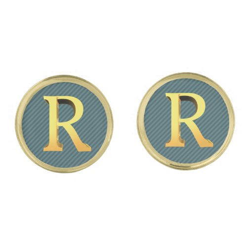 Initial R _ Gold Monogram on Striped Teal Shade Cufflinks