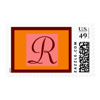 INITIAL R POSTAGE STAMPS Pink Orange Wine