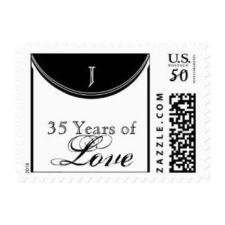 Initial Reaction Monogram Anniversary Love Stamp
