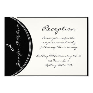 Initial Reaction:  Monogram in Black and White 3.5x5 Paper Invitation Card