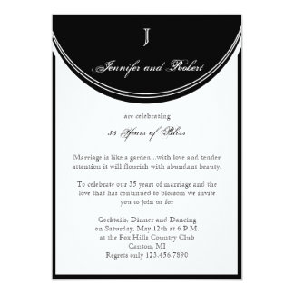 Initial Reaction Monogram Wedding Anniversary 5x7 Paper Invitation Card