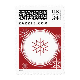 Initial Red Snowflake Simple Holiday Postage