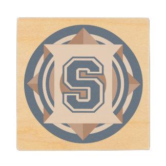Initial S Monogram Wood Coaster