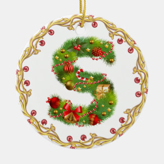 initial S monogrammed christmas ornament - circle