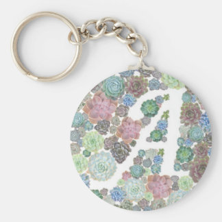 Initial succulents design A Keychain