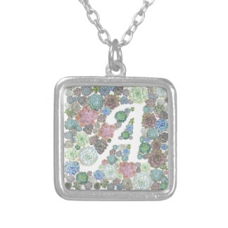 Initial succulents design A Silver Plated Necklace