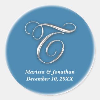 Initial T blue monogram custom name favor seal Sticker