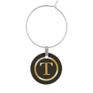 Initial T Gold Monogram Wine Glass Charm