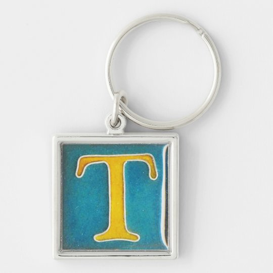 initial T  keychain, cloisonne, yellow and aqua Keychain