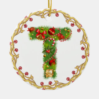 initial T monogrammed christmas ornament - circle
