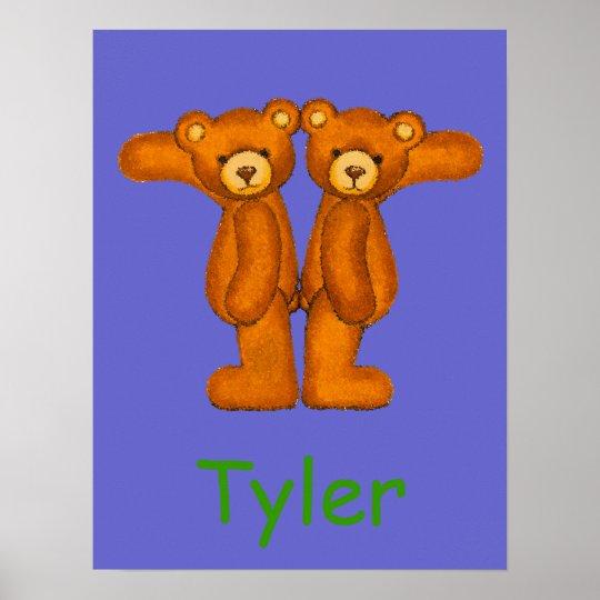 Initial T ~Teddy Bear Alphabet Letter~Custom Name Poster