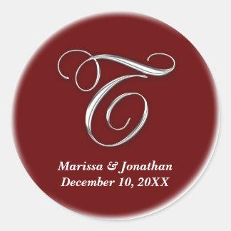 Initial T wine red monogram custom name favor seal Round Sticker