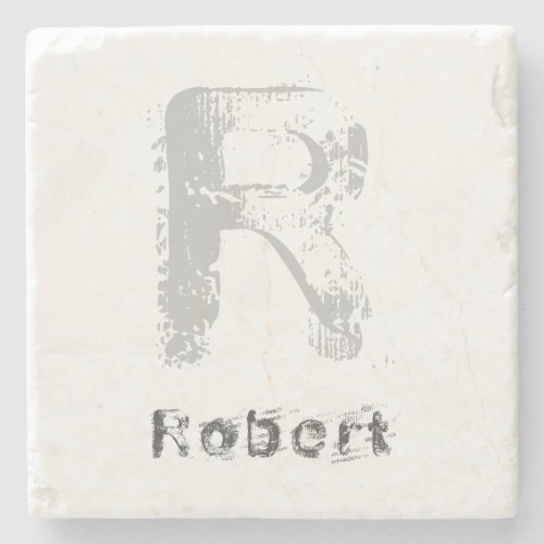 Initial Template Creative Letter Elegant Marble Stone Coaster