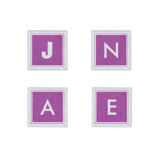 Initial Template - Orchid Knit Stockinette Stitch Stone Magnet