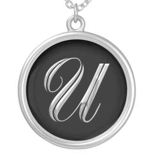 Initial U Monogram Silver Necklace