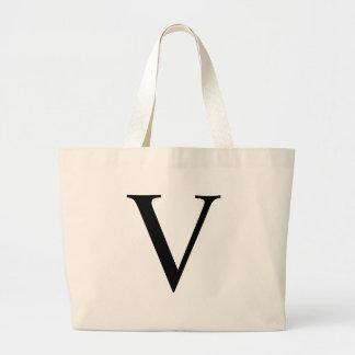 Initial V Jumbo Tote Bag