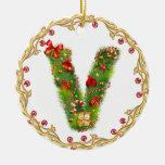 initial V monogrammed christmas ornament - circle