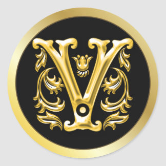 Initial V Round Sticker in Gold