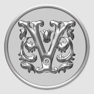 Initial V Round Sticker in silver