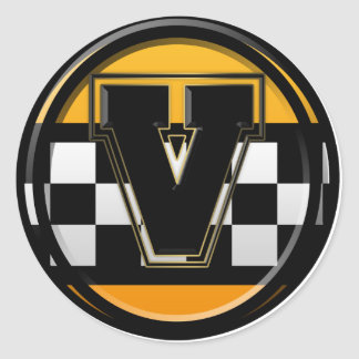 Initial V taxi driver Classic Round Sticker