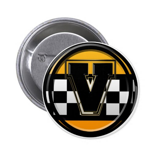 Initial V taxi driver Pinback Buttons